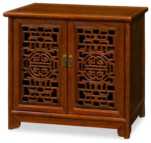 Elmwood double longevity design cabinet natural asian for Asian furniture westmont il