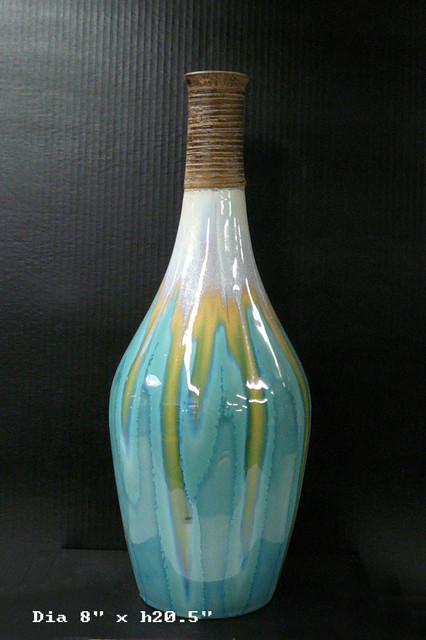 Round Ceramic Turquoise Bamboo Decor Vase Contemporary
