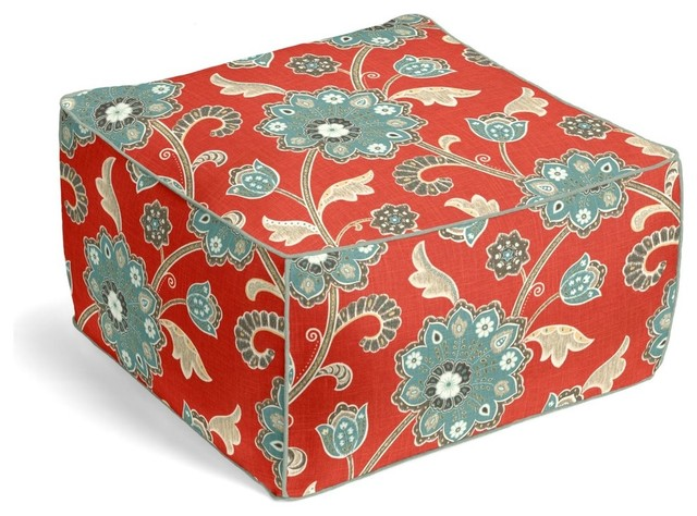 Modern Aqua and Red Floral Pouf, Square - Contemporary - Decorative Pillows - by Loom Decor