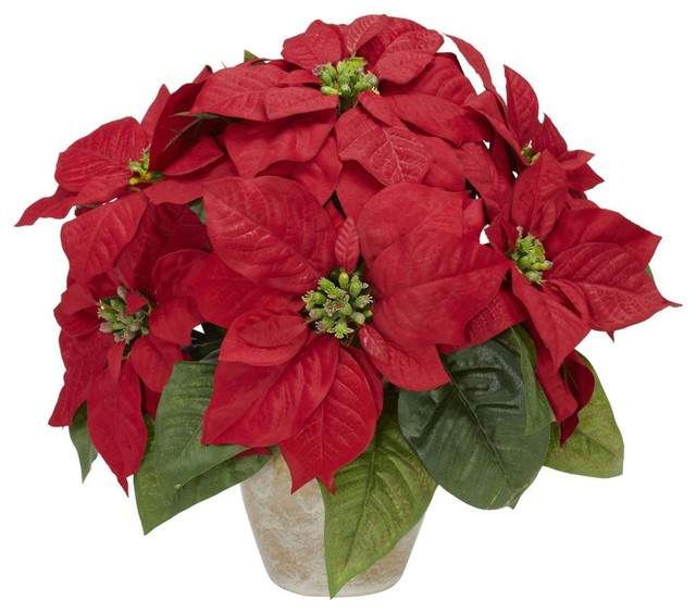 Poinsettia silk flower arrangement contemporary for Poinsettia arrangements