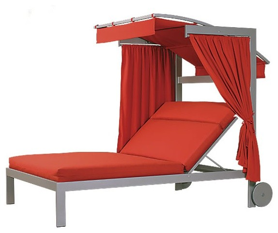 Linear Double Chaise Lounge With Wheels And Canopy Contemporary Outdoor C