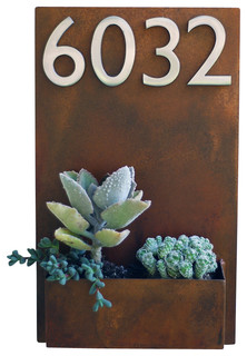 Metal Wall Planter and Address Plaque, Rust, With Numbers