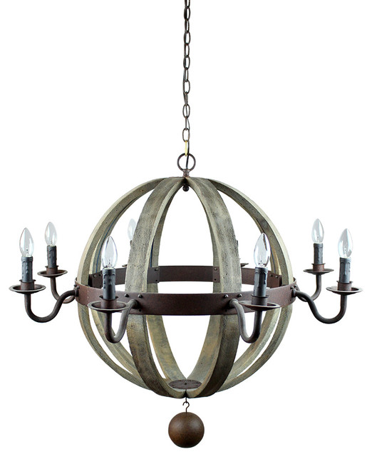 Globe Wooden Pendant With Candle Shaped Lights