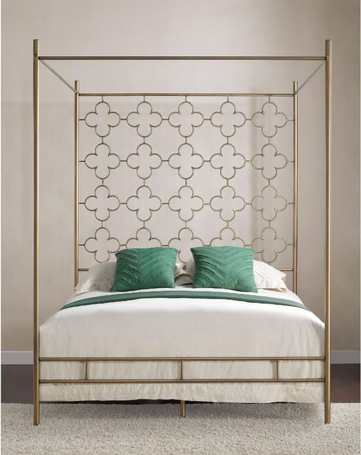 retro glitz quatrefoil queen canopy bed contemporary four poster beds by. Black Bedroom Furniture Sets. Home Design Ideas