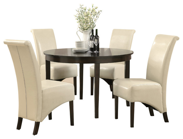 Monarch specialties 1740 1777tp 5 piece round dining room for Traditional round dining room sets