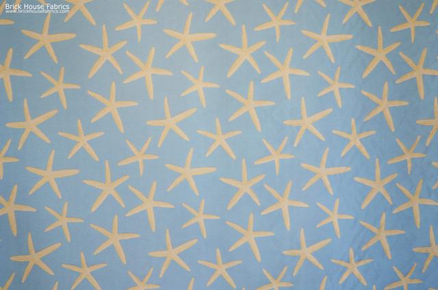Blue Starfish Fabric Sea Star Upholstery Pastel Beach