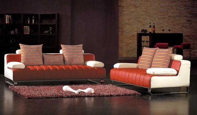 Lioni Two Toned Leather Sofa Set DS28R Modern Living Room Furniture Sets