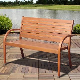 Riviera Brown Eucalyptus Outdoor Bench Contemporary Garden Benches By O