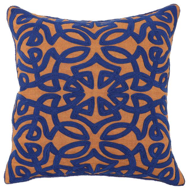 Jaden Sienna and Dark Blue Pillow - Transitional - Decorative Pillows - by Kosas