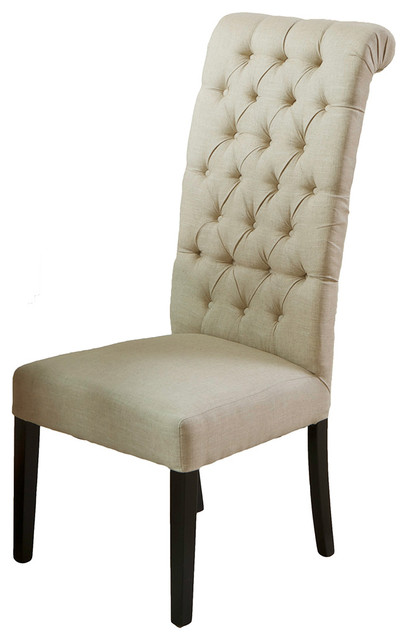 Jordan tall tufted back dark beige fabric chair for Modern high back dining chairs