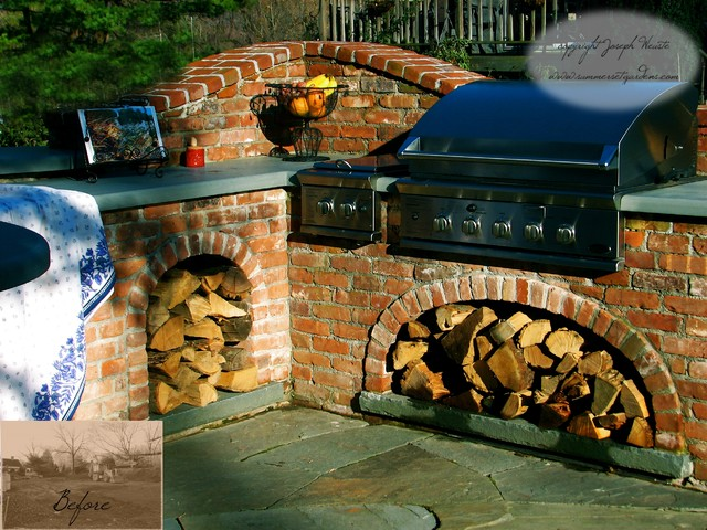 Outdoor kitchen design traditional patio new york for Traditional outdoor kitchen designs