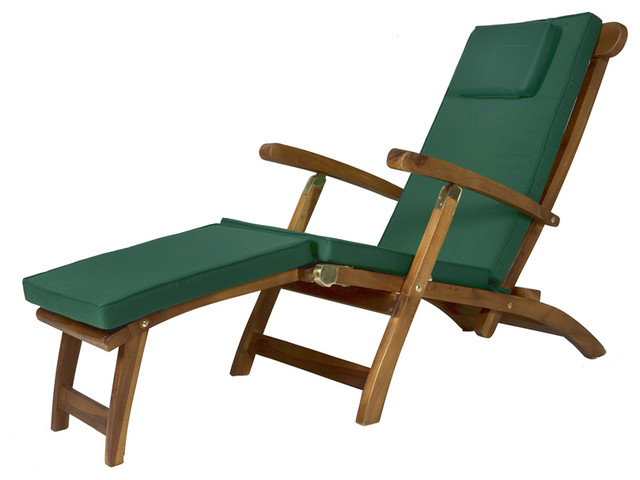 Teak Steamer With Green Cushion Traditional Outdoor Lounge Chairs By Al