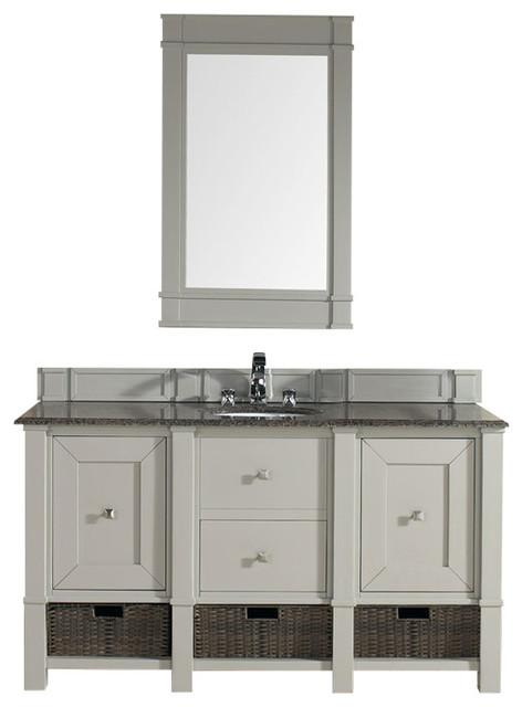 "Gerrell 60 Single Bathroom Vanity Set Blue: 60"" Dove Gray Single Bathroom Vanity With Galala Beige"