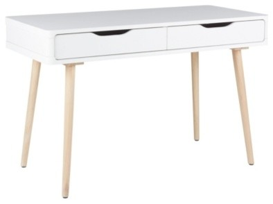 Bureau droit jenny blanc ch ne scandinave meuble for Meuble bureau scandinave