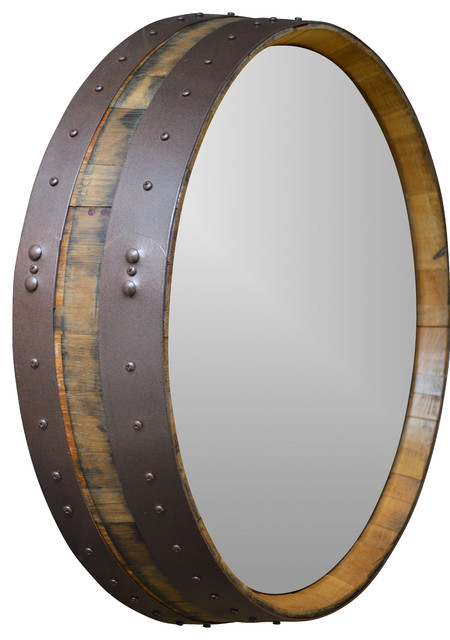 Napa Valley Hammered Copper Wine Barrel Mirror Rustic