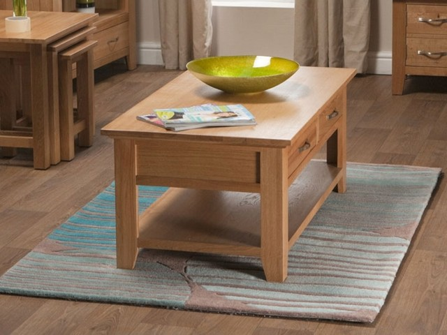 Bonsoni Sherborne Oak Coffee Table With Drawer Made Of A High Quality Grade Of Contemporary