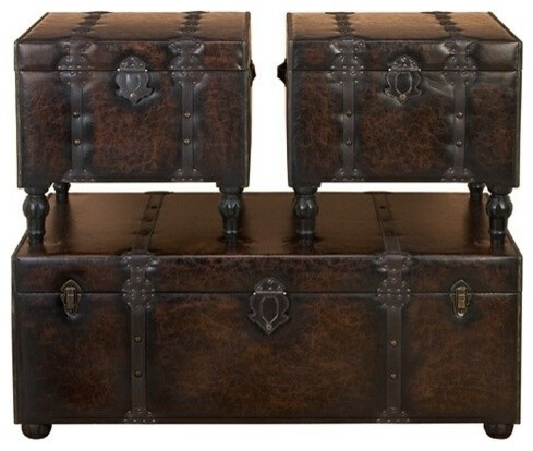 Huge Set Of 3 Custom House Leather N Wood Chest Trunks Traditional Coffee Table Sets