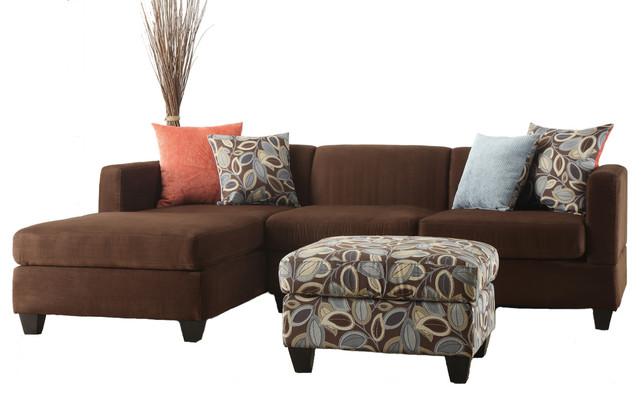 Soft Microfiber Sectional Sofa Set Chocolate 3 Pc Sofa