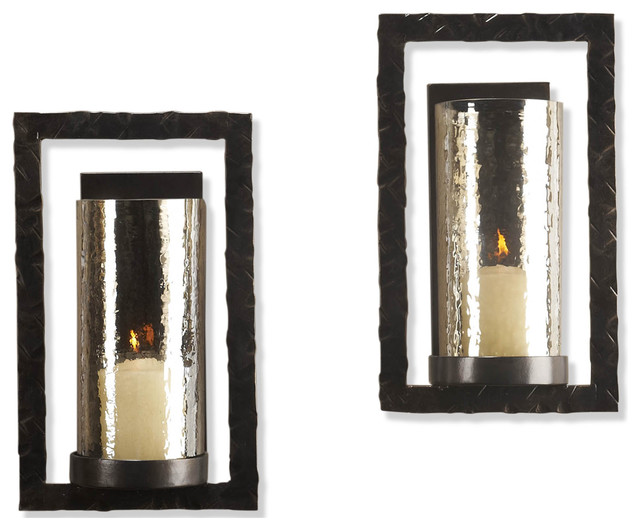 Pair Tomar Contemporary Oiled Bronze Rectangle Wall Sconce - Eclectic - Candles And ...