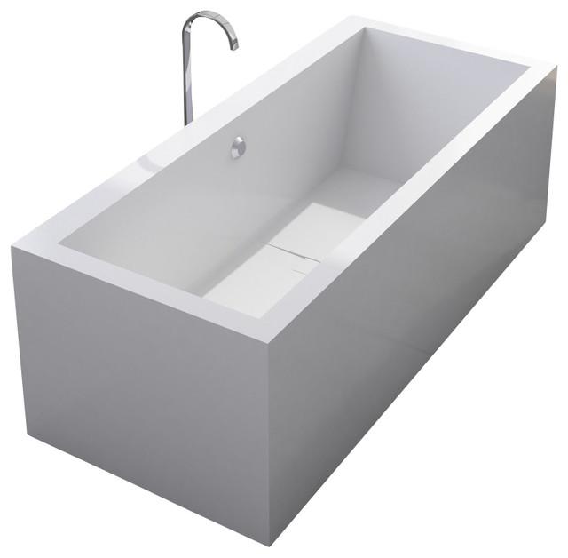Adm matte white stand alone resin bathtub modern for Stand alone bathtubs modern