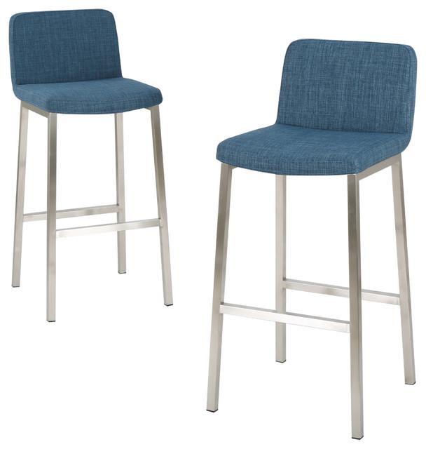 Set of 2 Santino Blue Fabric Barstool Contemporary Bar