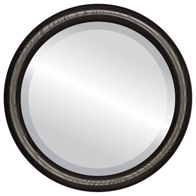Sydney framed round mirror in matte black 16 x16 wall for Round black wall mirror