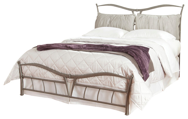 Lotus Snap Bed With Detachable Headboard Pillows, Brushed Pewter, Queen - Contemporary - Panel ...