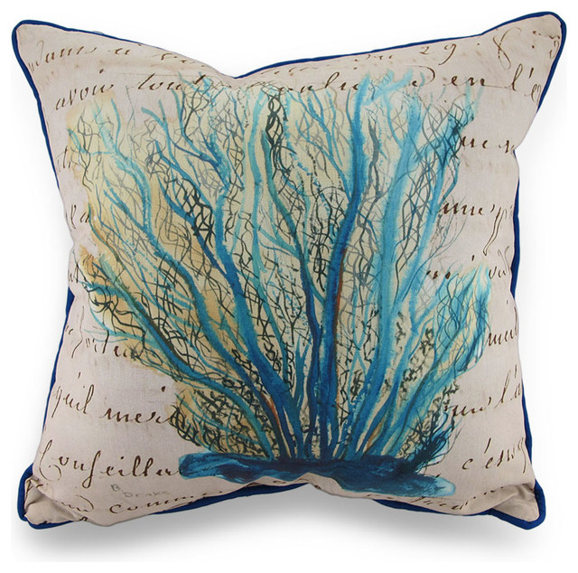 Betsy Drake Blue Coral Print Beige In/Outdoor Decorative Throw Pillow 18in. - Beach Style ...