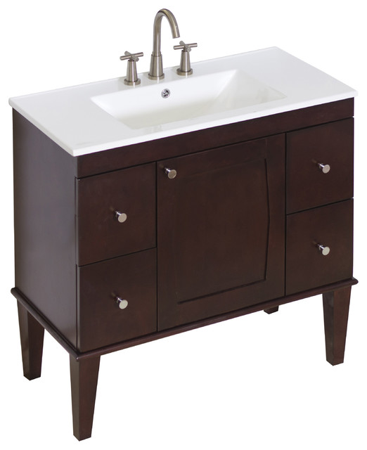 Vanity Set, Antique Walnut, 36quot;X18quot;  Transitional  Bathroom Vanit