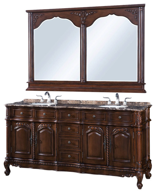 72 Inch Marble Top Bath Vanity With Beveled Mirror 2 Piece Traditional Bathroom Vanities
