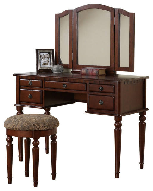 Tri Folding Mirror Make Up Table Vanity Set Wood W Stool 5 Drawers Cherry Traditional