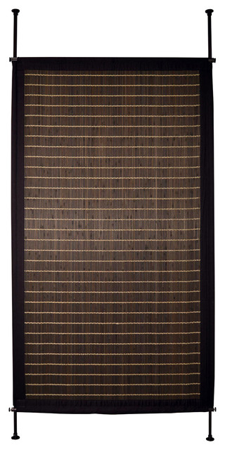 38 x68 bamboo privacy panel walnut modern screens for Hanging bamboo privacy screen