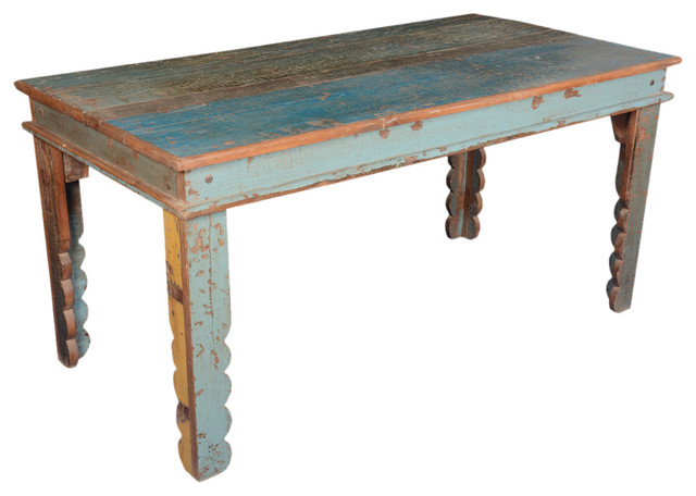 Rustic Farmhouse Reclaimed Wood Blue Kitchen Table Rustic Dining Tables