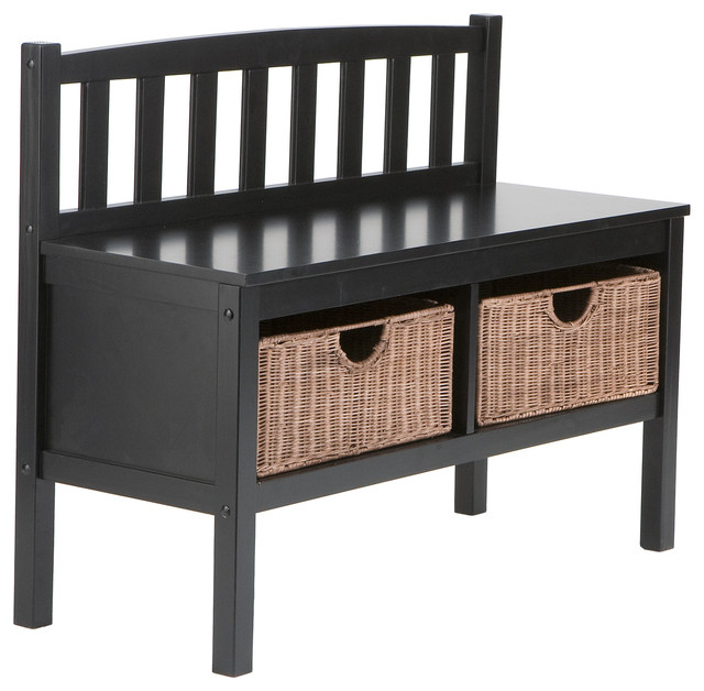 Brazos Black Bench With Brown Rattan Baskets Contemporary Accent And Storage Benches By