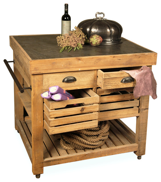 Belaney Rustic Wood Kitchen Island, Honey Pine and Blue Stone rustikal