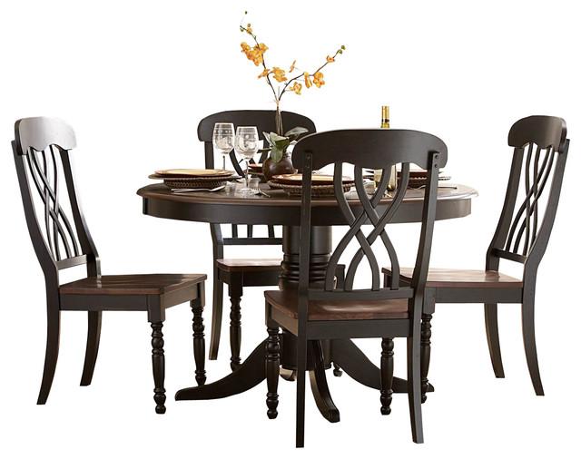 Homelegance ohana 3 piece round dining room set in black for Traditional black dining room sets