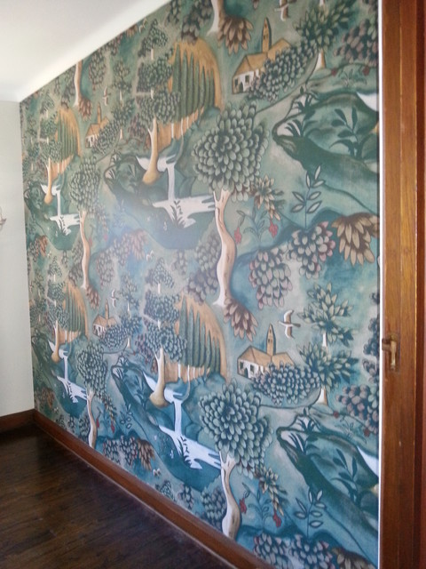 verdure wall mural based on a late 17th century painted cloth