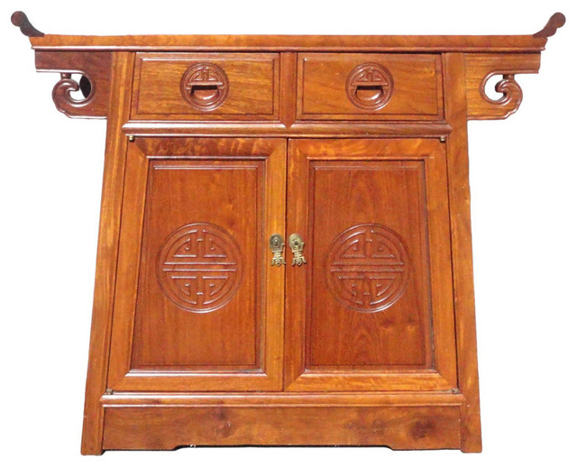 Chinese scroll apron altar side table cabinet for Asian console cabinet