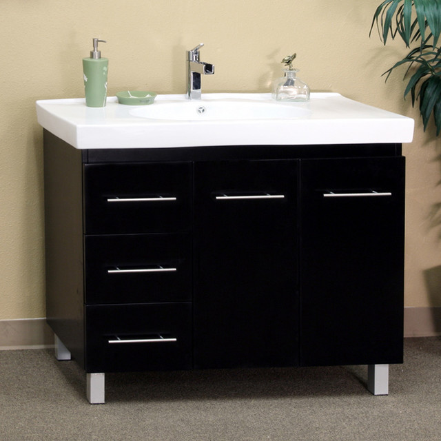 Black Wood 39-inch Single Sink Vanity with Left Side ...