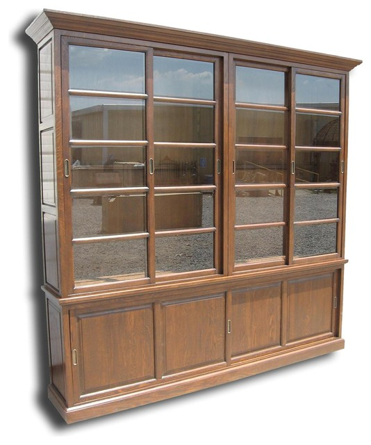 Bookcase Solid Oak Wood Antique Finish - Traditional - Bookcases - by EuroLuxHome