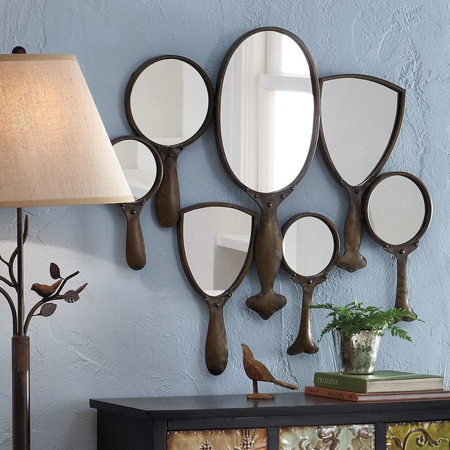 Hand mirror collage eclectic wall mirrors by grandin for Mirror collage wall