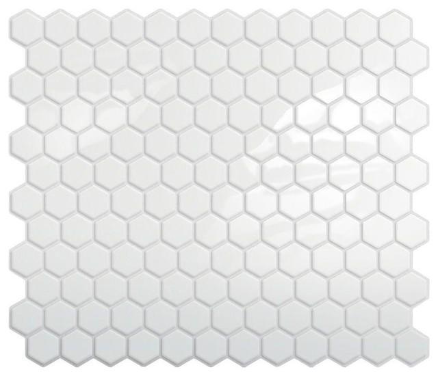 Peel-and-Stick Hexagon Mosaic Backsplash, White