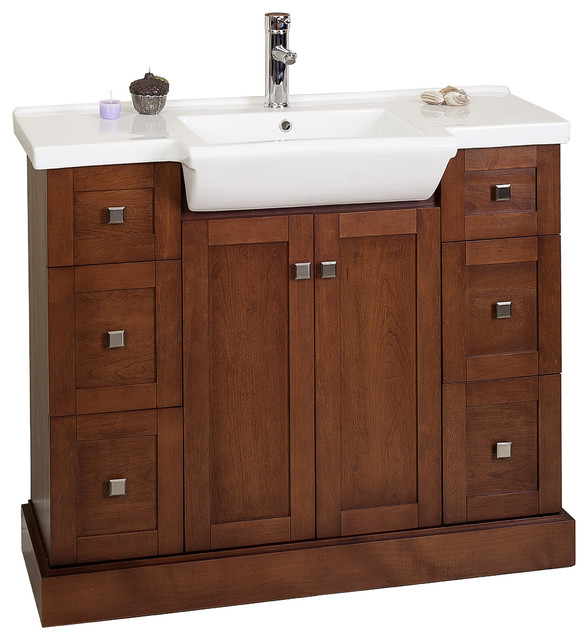 Modern birch vanity base only cherry 38 x14 modern bathroom vanities and sink consoles - Bathroom vanity cabinet base only ...