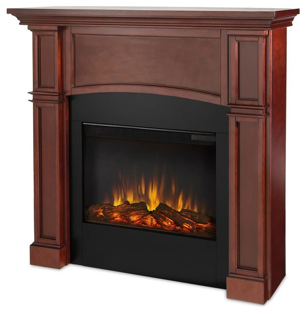 electric fireplace in dark mahogany finish traditional