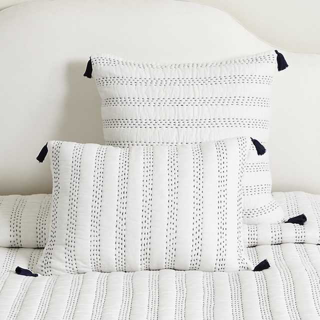 Ballard designs keira tassel sham indigo contemporary quilts and