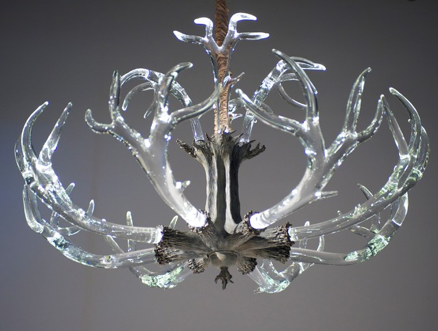 Crystal Antler Chandelier Rustic Chandeliers Austin By Lawson Glass