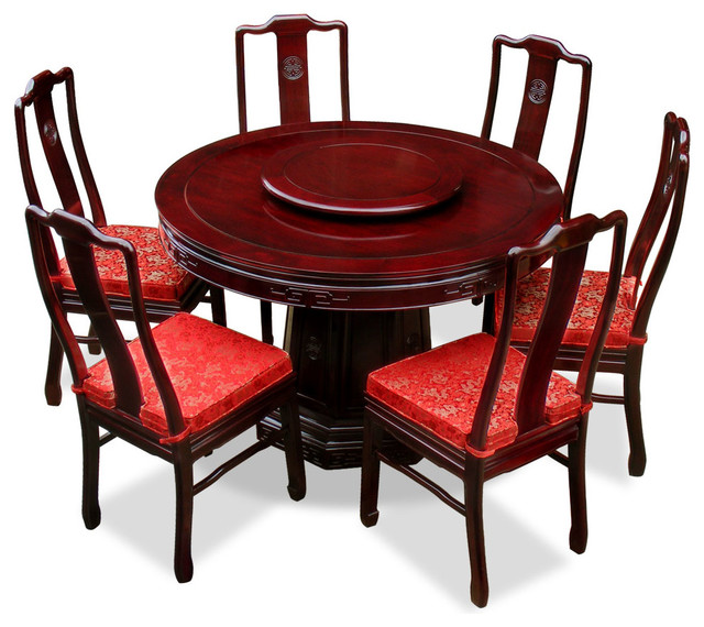 "Oriental Dining Table: 48"" Rosewood Longevity Design Round Dining Table With 6"