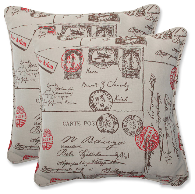 pillow perfect 18 5 inch throw pillow with bella dura carte postale fabric set contemporary. Black Bedroom Furniture Sets. Home Design Ideas