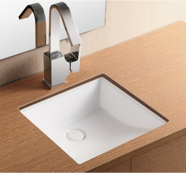 Sloped White Ceramic Square Under-Mount Sink by Caracalla - Modern ...