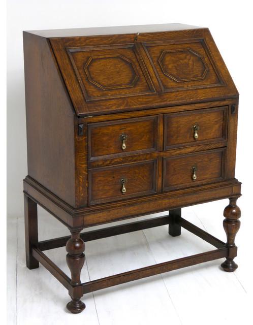 1920 39 s jacobean style oak bureau. Black Bedroom Furniture Sets. Home Design Ideas